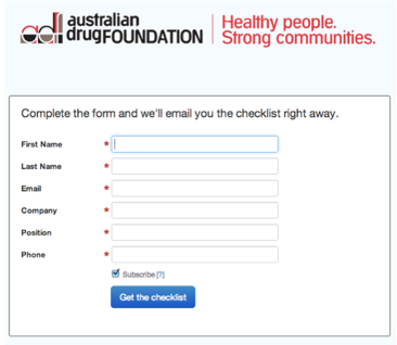 Australian Drug Foundation Opt-In Form