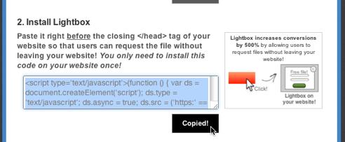 Copy Digioh Lightbox Javascript code