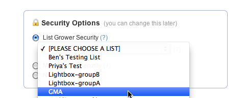 Security Options - List Grower Security
