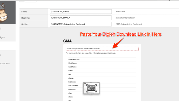 Put your Digioh link in your Mailchimp email